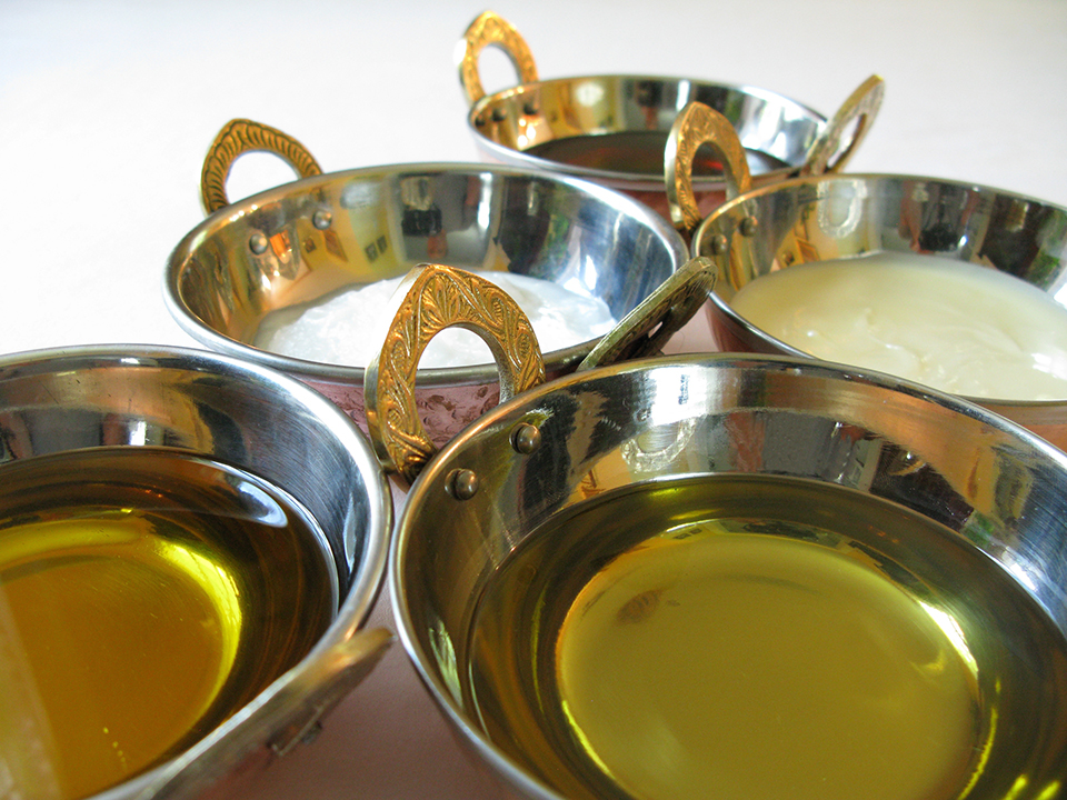 Healing oils used in Ayurvedic medicine treatments